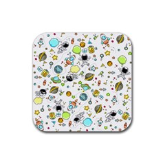 Space Pattern Rubber Square Coaster (4 Pack)