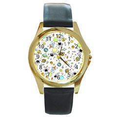 Space Pattern Round Gold Metal Watch