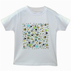 Space Pattern Kids White T Shirts