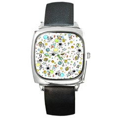 Space Pattern Square Metal Watch