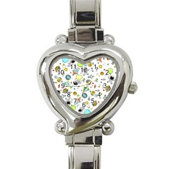 Space Pattern Heart Italian Charm Watch