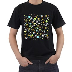 Space Pattern Men s T Shirt (black) (two Sided)