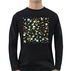 Space Pattern Long Sleeve Dark T Shirts