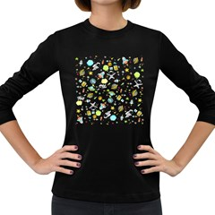 Space Pattern Women s Long Sleeve Dark T Shirts