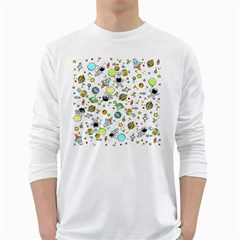 Space Pattern White Long Sleeve T Shirts