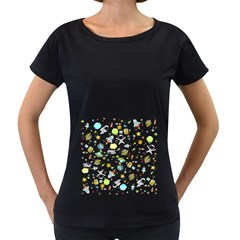 Space Pattern Women s Loose Fit T Shirt (black)