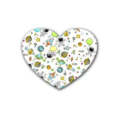 Space Pattern Rubber Coaster (heart)