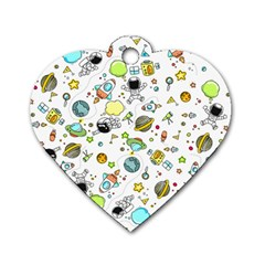 Space Pattern Dog Tag Heart (one Side)