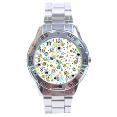 Space Pattern Stainless Steel Analogue Watch