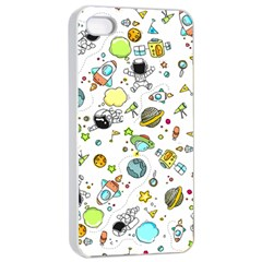Space Pattern Apple Iphone 4/4s Seamless Case (white)