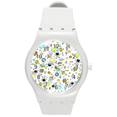 Space Pattern Round Plastic Sport Watch (m)