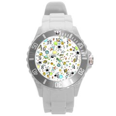 Space Pattern Round Plastic Sport Watch (l)