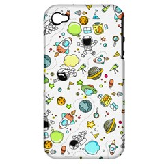 Space Pattern Apple Iphone 4/4s Hardshell Case (pc+silicone)