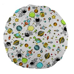 Space Pattern Large 18  Premium Round Cushions