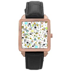 Space Pattern Rose Gold Leather Watch