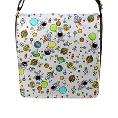 Space Pattern Flap Messenger Bag (l)
