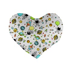 Space Pattern Standard 16  Premium Flano Heart Shape Cushions