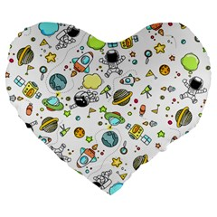 Space Pattern Large 19  Premium Flano Heart Shape Cushions