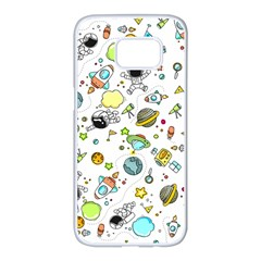Space Pattern Samsung Galaxy S7 Edge White Seamless Case