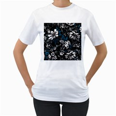 Floral Pattern Women s T Shirt (white) (two Sided)