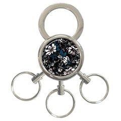 Floral Pattern 3 Ring Key Chains