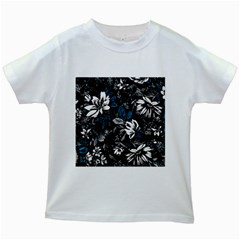 Floral Pattern Kids White T Shirts
