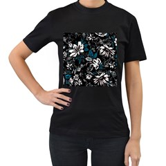 Floral Pattern Women s T Shirt (black) (two Sided)