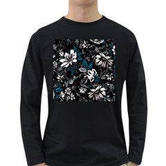 Floral Pattern Long Sleeve Dark T Shirts