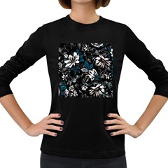 Floral Pattern Women s Long Sleeve Dark T Shirts