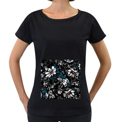 Floral Pattern Women s Loose Fit T Shirt (black)