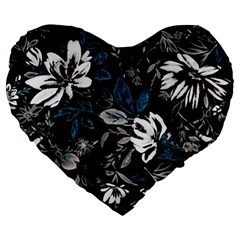 Floral Pattern Large 19  Premium Heart Shape Cushions