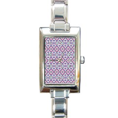 Colorful Folk Pattern Rectangle Italian Charm Watch