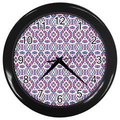 Colorful Folk Pattern Wall Clocks (black)