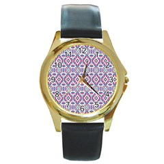 Colorful Folk Pattern Round Gold Metal Watch
