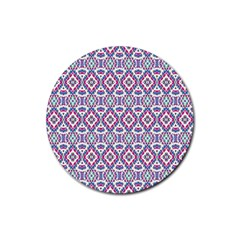 Colorful Folk Pattern Rubber Coaster (round)