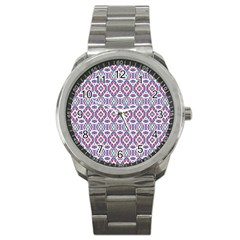 Colorful Folk Pattern Sport Metal Watch
