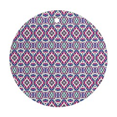 Colorful Folk Pattern Round Ornament (two Sides)