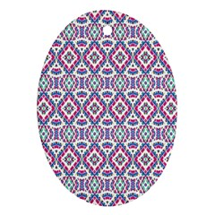 Colorful Folk Pattern Oval Ornament (two Sides)