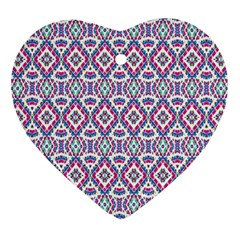 Colorful Folk Pattern Heart Ornament (two Sides)