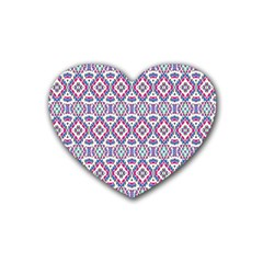 Colorful Folk Pattern Heart Coaster (4 Pack)