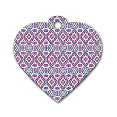 Colorful Folk Pattern Dog Tag Heart (two Sides)
