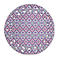 Colorful Folk Pattern Round Filigree Ornament (two Sides)