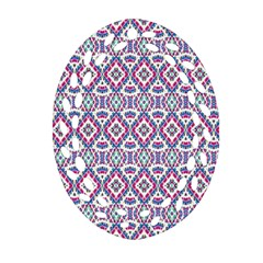 Colorful Folk Pattern Oval Filigree Ornament (two Sides)