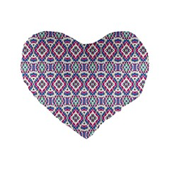 Colorful Folk Pattern Standard 16  Premium Heart Shape Cushions