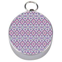Colorful Folk Pattern Silver Compasses by dflcprints