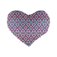 Colorful Folk Pattern Standard 16  Premium Flano Heart Shape Cushions