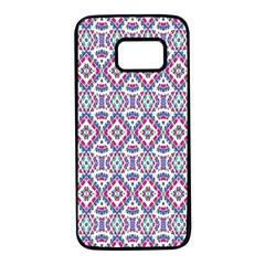Colorful Folk Pattern Samsung Galaxy S7 Black Seamless Case