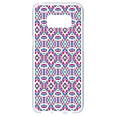 Colorful Folk Pattern Samsung Galaxy S8 White Seamless Case