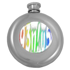 Genius Funny Typography Bright Rainbow Colors Round Hip Flask (5 Oz) by yoursparklingshop
