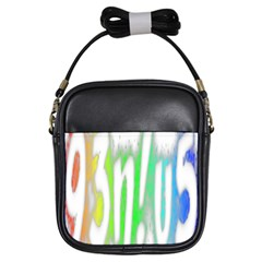 Genius Funny Typography Bright Rainbow Colors Girls Sling Bags